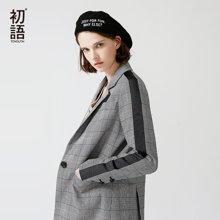 初语2018春季新款西装外套女翻领黑白格纹修身拼接条纹休闲西服女8810702002