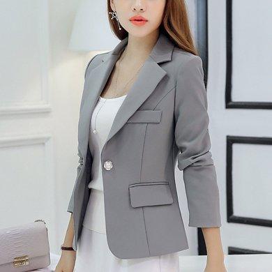 綺娑 四季新款修身純色時尚小西裝一粒扣長袖女士西服外套