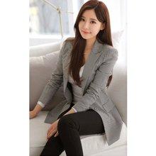亿族 春秋装新款韩版修身长袖小西装千鸟格西服女士外套