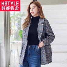 韩都衣舍2018韩版女装夏装新款格子薄款休闲外套西装GY9633筱
