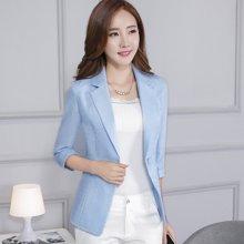 亿族 春夏装新款韩版修身一粒扣V领西服气质OL中袖外套女小西装外套