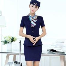 亿族 夏季新款南航空姐?#21697;?#32844;业装短袖女半身裙套装?#39057;?#21069;台餐饮工作服
