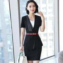 亿族 夏季新款不规则领短袖西服+女职业美容师?#39057;?#35199;裙职业套裤