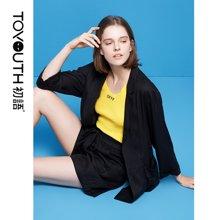 初语2018夏季新款 垂感口袋宽松chic薄款小西装外套女韩版中长款8820702001
