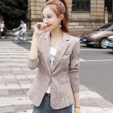 亿族 格子小西装女春秋装新款韩版女士修身休闲港味复古chic外套西服