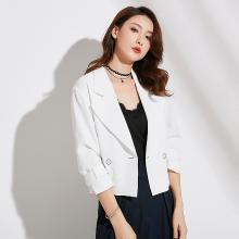 姝奕2018秋季新款品牌女装韩版修身纯色气质通勤西装领长袖短外套女QBZ88252