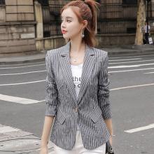 億族 條紋小西裝女秋季新款韓版女士休閑時尚港味復古chic外套上衣
