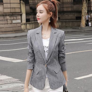 亿族 条纹小西装女秋季新款韩版女士休闲时尚港味复古chic外套上衣