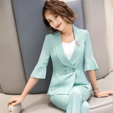 妙芙琳 2019春夏季短款小個子西裝外套女顯瘦韓版荷葉邊西裝女