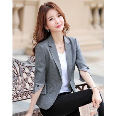 meyou  春夏季新款chic網紅小西裝外套女大碼薄款韓版七分袖短款氣質西服