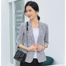 meyou 網紅格子小西裝外套女春夏季新款韓版氣質修身復古短款西服