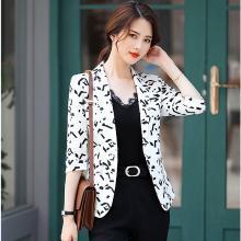 meyou chic小西裝外套女春夏季新款韓版修身職業裝網紅七分袖印花西服