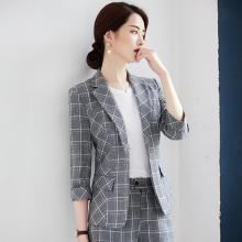 meyou  韓版網紅格子小西裝女春夏季新款時尚七分袖修身西服外套潮