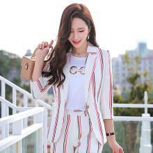 meyou  網紅條紋小西裝女春夏季新款韓版時尚七分袖修身chic西服外套
