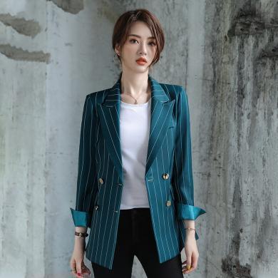 億族 chic小西裝外套女春秋季新款氣質雙排扣寬松顯瘦休閑百搭條紋西服