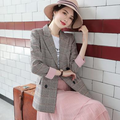 億族 春秋季新款氣質雙排扣長袖西服時尚休閑百搭OL職業小西裝外套女裝