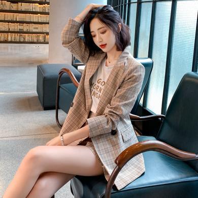 蘇醒的樂園格子西裝外套女裝2019新款春秋網紅韓版寬松套裝短款英倫風小西服SXWTl9127