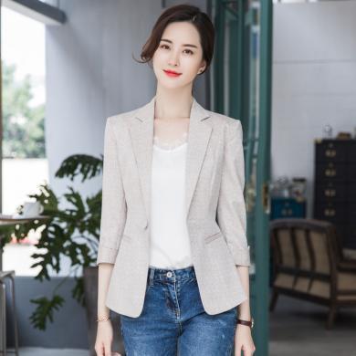 meyou OL職業小西裝外套女春秋季新款修身一粒扣時尚簡約氣質西服