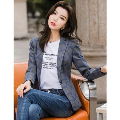 亿族 chic小西装外套女春秋季新款修身一粒扣个性口袋OL气质格子西服