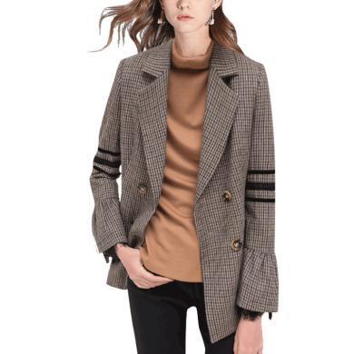 韓版洋氣格子西服女2019秋裝新款設計感小眾氣質西裝短外套上衣潮