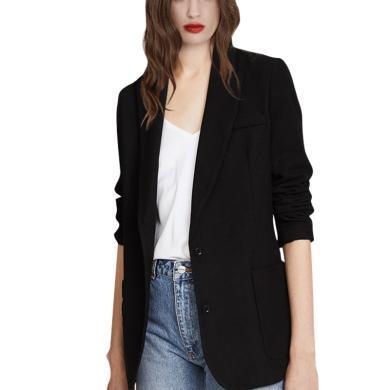 純色西服外套女2019秋款新款英倫風顯瘦上衣黑色職業氣質小西裝