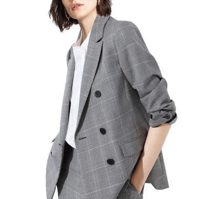 tobebery復古港味格子西裝外套女2020春裝新款設計感小眾上衣女式小西服