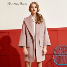 BANANA BABY韩版新款大翻领中长款毛呢外套女大衣D64W104