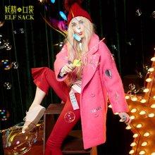 妖精的口袋P三重生活冬装刺绣双排扣呢大衣圈圈毛呢外套女长款