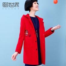 熙世界2018秋冬新款韩版绣花大衣中长款连帽红色毛呢外套女LG558