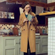 BANANA BABY双排扣毛呢大衣女长袖韩版毛呢外套D74D112