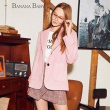 BANANA BABY新款复古单排扣毛呢外套女韩版西装领呢大衣D74W025