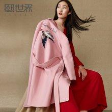 熙世界中长款双面呢羊毛毛呢外套女2018冬装新款刺绣LG076