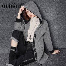 OUBOGJ 毛呢外套连帽妮子衣服女韩版中长款时尚长袖大衣17D15376