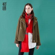 初语秋冬季新款帅气夹克短款毛呢外套 直筒西装领纯色秋冬外套女8731244011