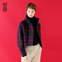初语冬季新款 立领宝蓝红格宽松帅气短款蝙蝠袖小个子毛呢外套女8741244005