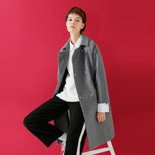 初语冬季新款时尚中性风双排扣呢子大衣 中长款修身毛呢外套女潮8741214003