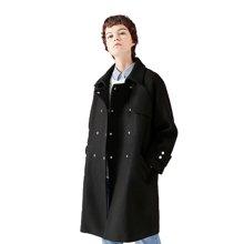 初语 反季呢子大衣双排扣直筒宽松中长款毛呢外套女8731214006
