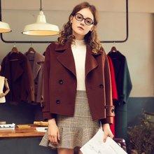 BANANA BABY双面羊毛呢大衣女短款韩版呢大衣D74W851