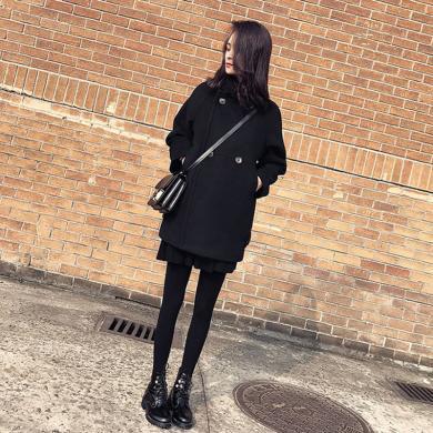 姝奕冬季新款黑色毛呢外套冬裝女裝寬松中長款加厚呢大衣HD-W8819
