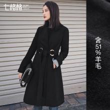 七格格2018冬装新款通勤韩版黑色系带西装领长款显瘦修身呢大衣女