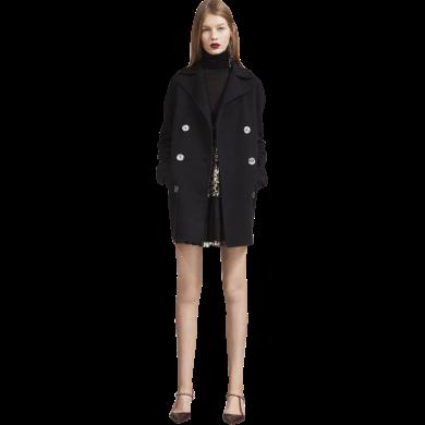 tobebery赫本風毛呢大衣女冬季2018新款高端簡約氣質女裝修身外套