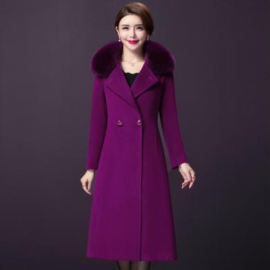 億族 大毛領毛呢大衣女中長款冬季新款韓版純色過膝大碼女裝呢子大衣外套女