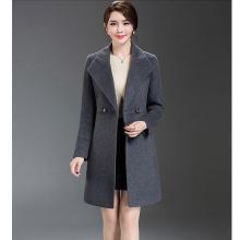 億族 毛呢外套女秋冬裝新款大碼顯瘦中長款純色毛呢子大衣