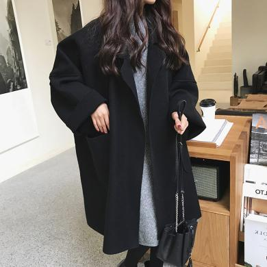 姝奕赫本風呢子大衣2019春秋寬松學生中長款斗篷毛呢外套HD4901
