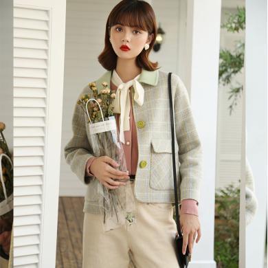 BANANA BABY2019秋冬新款甜美翻领双面呢格纹毛呢外套女羊毛大衣D294DY857