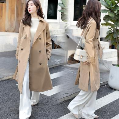 妙芙琳 2019秋季女裝新款純棉風衣女中長款韓版寬松小個子流行大衣外套