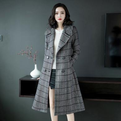 亿族 时尚格子毛呢外套女秋冬装新款韩版过膝加厚呢子大衣潮