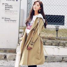 韓都衣舍2018韓版女裝秋裝新款薄款中長款外套風衣JW11971筱