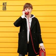 初语秋季新款H型宽松羊毛呢子大衣中长款西装领纯色毛呢外套女8731234001