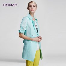 Ofiman奥菲曼新品女装春夏新款绿色欧根纱大码修身薄外套风衣开衫A2-S5075-2F